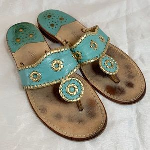Jack Rogers Turquoise & Gold Sandals